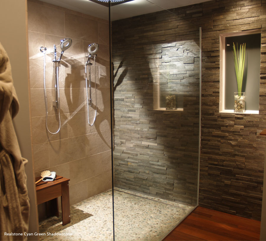 Stone Tile Bathrooms: Cultured Stone And Brick